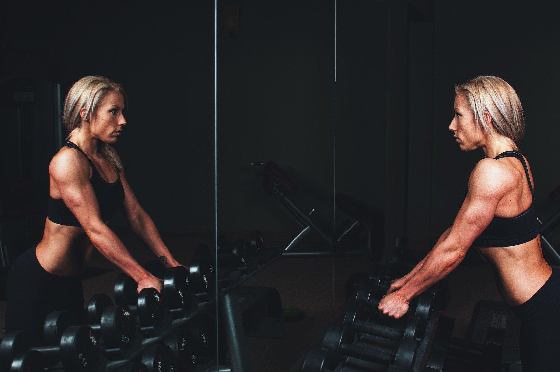 Training Muscles Arms Blonde Bar Bells Workout